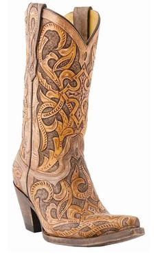 Lucchese M5010 Womens Caramel & Tan Hand Tooled Western Cowboy Fashion Boots  #Lucchese #CowboyWestern