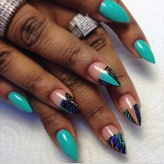 Teal short stiletto nail love obsession