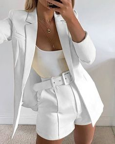 White Outfits For Women, Clothes For Women, Teen Fashion Outfits, Look Fashion, Cute Casual Outfits, Stylish Outfits, Professional Outfits, Elegant Outfit, Dress To Impress