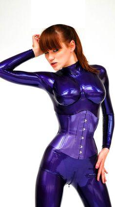 Purple Latex Corset and Purple Latex Catsuit