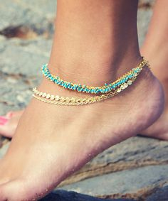 Take a look at this LovMely Turquoise & Gold Triple-Chain Anklet on zulily today!