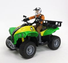 Quad w/ Driver by Bruder Toy Toys Awesome Toys, Cool Toys, John Deere Toys, King Kong, Cool Cartoons, Plastic Models, Christmas Presents, Vintage Toys, Cartoon Characters