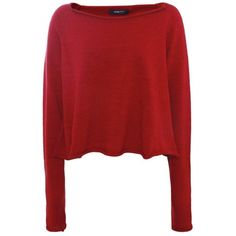 Crea Concept Merino Wool Short Sweater (€200) ❤ liked on Polyvore featuring tops, sweaters, shirts, long sleeves, dk red, red long sleeve shirt, red shirt, red top, short shirts and short sweater