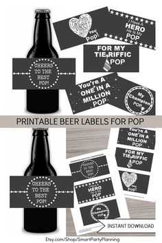 Create something unique for Pop for his birthday or father's day with these printable beer labels. There are six designs which all tell Pop how amazing he is. If Pop loves his beer, then these beer labels are going to be a hit. They are an instant download which makes creating the perfect gift super quick and easy. Daddy Gifts, Gifts For Dad, Fathers Day Gifts, Chocolate Bar Wrappers, Candy Bar Wrappers, Printable Designs, Printables, Printable Water Bottle Labels, Grandfather Gifts