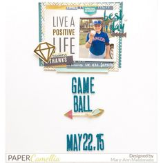Game Ball!  I'm on the @papercamellia blog today using the November Scrapbooking kit. #papercamellia #layout #scrapbooking #baseball