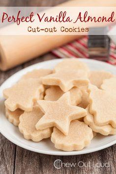 Perfect Vanilla Almond Cut-out Cookies | Chew Out Loud Almond Sugar Cookies, Best Sugar Cookie Recipe, Best Sugar Cookies, Vanilla Cookies, Cookie Recipes, Dessert Recipes, Desserts, Peanut Butter Cutout Cookies Recipe, Almond Flour Sugar Cookie Recipe
