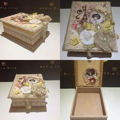 Linda caixa porta bijuterias estilo vintage. Ótima opção de presente para sua mãe. #mae#caixaspersonalizadas #presente #presentediadasmaes #presentes #mariadiva#diadasmaes