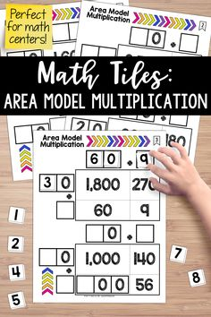 Math tiles for area model multiplication!  Students must place 10 number tiles (0-9) on the Time to Tile cards to correctly complete the area multiplication problems. This math center takes students' thinking beyond procedures and rote memorization while reinforcing place value understanding as it relates to multiplication. Multiplication Anchor Charts, Multiplication Activities, Teaching Fractions, Multiplication Problems, Math Fractions, Math Games, 5th Grade Math, Third Grade, Sixth Grade