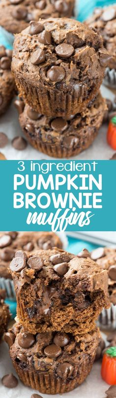Pumpkin Brownie Muffins have just 3 ingredients: cake mix, pumpkin, and CHOCOLATE! Such an easy recipe to make and they're so good and healthier too!