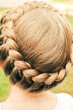 braid, crown, twist, long, hair