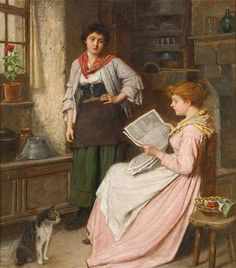 Reading the News. John Haynes King, RBA (British, 1831-1904). Oil on canvas. King was born in Barbados and came to London in 1854. He studied first at Leigh's Academy. He exhibited at the Royal Academy from 1860. This is a good example of his genre scenes of cottage interiors with figures.