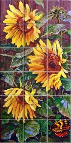 sunflower backsplash ideas | Sunlight Sunflowers Tile Mural by marva                                                                                                                                                                                 More