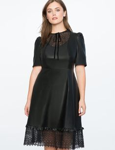 Faux Leather Dress with Lasercut Bib Front | Plus size fashion for women, great for a classy night out #plussize #fashion #plussizeclothing #affiliatelink