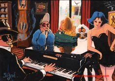 """Tableau """"Autour du piano"""" de Vincent Dufour (Acrylique sur bois 80/120cm). Dispo sur http://www.vincentdufour.com/fr/85-style-bd # peinture, dessin,"""