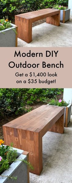 This easy modern DIY outdoor bench was made with $35 of materials - and uses no nails or screws! Looks just like a Williams Sonoma one for $1,400. Wouldn't this look great in your garden? It also works indoor, like in a bedroom or entryway . . . you could modify it for a small table as well. #cheapoutdoordiy