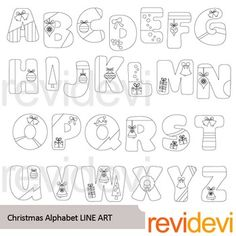 Alphabet clip art blackline in Christmas theme. Complete abc learning collection of 26 letters. Great for saving ink when printing, or for coloring projects.Also great for chapter title, classroom decor, math learning materials, and for more creations!Find colored version hereLink-Christmas Alphabet Clip artThese digital stamp cliparts are very useful for teachers and educators for creating their school and classroom projects such as for coloring page, games, and other learning sheets.