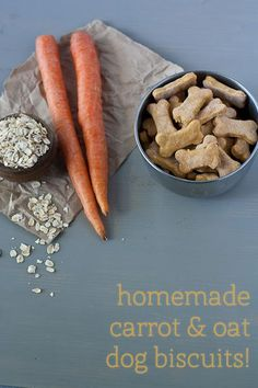 "Original Pinner said: ""Carrot & oat homemade dog biscuit recipe! (My vet said to put weight on my skinny dog I need to give her more grains, carrots, and other starchy veggies, along w/ pasta)"" Puppy Treats, Diy Dog Treats, Homemade Dog Treats, Healthy Dog Treats, Homemade Food, Dog Biscuit Recipes, Dog Treat Recipes, Dog Food Recipes, Yorkshire Terrier"