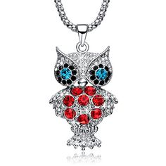 Christmas Gifts Deals NEEMODA Crystal Owl Charm Pendant Long Necklace for Women White Gold Plated Sweater Chain Fashion Jewelry. Specifications: 1.Chain Length: 31.5 inches + 2 inches. Pendant Height: 2.32 inches. Pendant Width: 1.22 inches.   2.Weight: 1.2 ounces.   3. Stone: Austrian Crystal. Stone Shape: Round. Stone Color: Clear, Green, Red, Black. Chain Type: Popcorn. Pendant Shape: Owl.   4.Metal Type: Eco-friendly White Gold Plated.   5. Craftsmanship: Triple-layer vacuum furnace…
