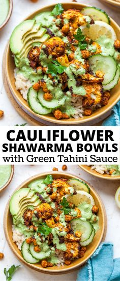 Cauliflower Shawarma Bowls with crispy chickpeas, basmati rice, and Green Tahini Sauce. These vegan and gluten free bowls are perfect for meal prep lunch or easy weeknight dinner. Vegetarian Meal Prep, Lunch Meal Prep, Clean Eating Vegetarian, Clean Eating Recipes, Vegan Cauliflower, Cauliflower Recipes, Vegetarian Cabbage Soup, Vegetarian Recipes, Healthy Recipes