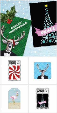 Christmas and Holidays Greeting Cards, Invitations, custom Postage Stamps, Stickers, Gift Tags. Designed by Kkoyle.