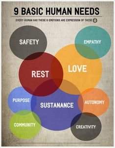 I really like this one-level infographic. It shows the 9 basic human needs, however, it places certain needs in part of other needs because those needs can be connected. For instance, if you don't have safety, you probably aren't resting well.