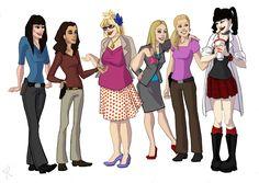 Emily Prentiss (Criminal Minds), Ziva David (NCIS), Penelope Garcia (Criminal Minds), Jennifer Jareau (Criminal Minds), Juliet O'Hara (Psych), and Abby Sciuto (NCIS).