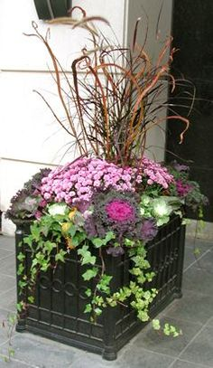 Classic box planters get a bold yet elegant new look, spring, summer, fall and winter (Fall).