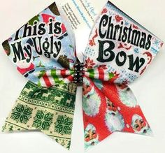 Bows by April - This is My Ugly Christmas Bow Sweater Cheer Bow, $15.00 (http://www.bowsbyapril.com/this-is-my-ugly-christmas-bow-sweater-cheer-bow/)
