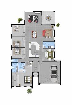 David Reid Homes flinders house floorplan Home Design Plans, Plan Design, Modern House Plans, House Floor Plans, Story House, Custom Home Builders, Home Reno, Outdoor Areas, Luxurious Bedrooms