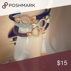 Leather Bling Magnetic Bracelet Leather Bling Magnetic Bracelet in Gold, Aqua or Black Jewelry Bracelets