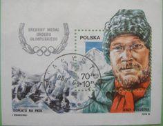Poland 1988 Jerzy Kukuczka Mini Sheet Used Olympic Medals, Postage Stamps, Mini, Ebay, Preston, Inspire, Club, Mountains, Google