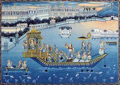 Nauka Vihar of the Rajput King (Miniature Painting on Silk Cloth - Unframed) Phad Painting, King Painting, Blue Painting, Mural Painting, Rajasthani Miniature Paintings, Rajasthani Painting, Rajasthani Art, Ap Art, Indian Art