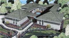Find your dream contemporary style house plan such as Plan which is a 2194 sq ft, 3 bed, 2 bath home with 2 garage stalls from Monster House Plans. House Plans 3 Bedroom, Ranch House Plans, House Plans One Story, Best House Plans, Story House, Contemporary House Plans, Contemporary Style Homes, European House Plans, Country House Plans