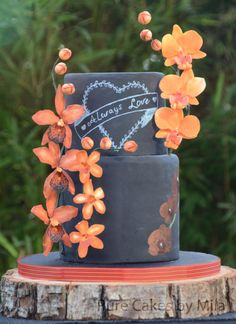 """Orange Orchids"" Wedding cake - Cake by Mila - Pure Cakes by Mila"