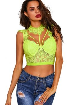 6bdeeecf0ca Wholesale Crop Tops, Cheap Yellow Lace Strappy Bustier Crop Top Online