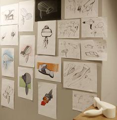 Samanta Walczewska (School of Form) hair dryer sketches and a foam model