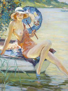 A breathtaking American Impressionist oil by Edward Alfred Cucuel ~ M.S. Rau Antiques