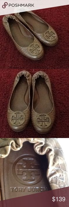 Selling this TORY BURCH BROWN CROC REVA BALLET FLATS, MINT! on Poshmark! My username is: backbend31. #shopmycloset #poshmark #fashion #shopping #style #forsale #Tory Burch #Shoes