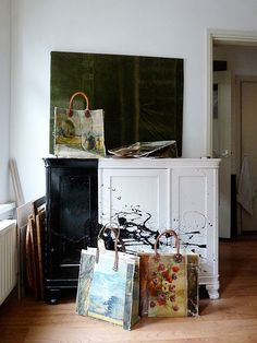 Great bags by Leslie Oschmann, but that paint job on her credenza is what I really love!