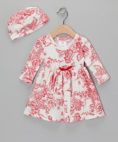Red Floral Toile Dress & Beanie - Infant