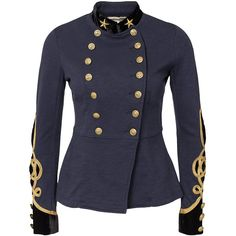 Denim & Supply Ralph Lauren Military Jacket (€180) ❤ liked on Polyvore featuring outerwear, jackets, coats & jackets, tops, blue, navy, womens-fashion, tall jackets, military jackets and double breasted military jacket