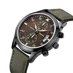 yisuya Herren 's Army Grün Militär Stil Chronograph Quarz wasserfestem Leinwand Band Casual megir Sport Armbanduhr Armbanduhren: Amazon.de: Uhren