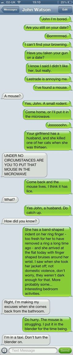 how texts between sherlock and john go, probably