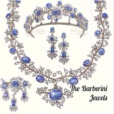 The Barberini Jewels circa1850s: Sold as a parure at Christie's Geneva on 18 November 1971 and realised $18,850. The Barberinis were an Italian noble family who rose to prominence in 17th century Rome when Cardinal Maffeo Barberini was elected as Pope Urban VIII. The Barberini Palazzo created by Bernini in 1633 gives evidence of the family's importance and today houses the National Gallery of Ancient Art in Rome.