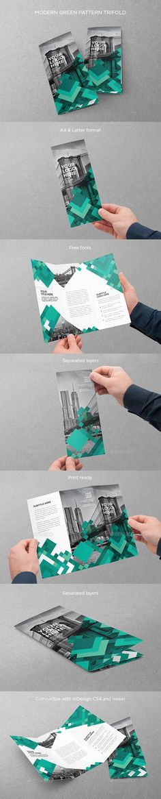 Modern Green Pattern Trifold Brochure Template InDesign INDD. Download here: http://graphicriver.net/item/modern-green-pattern-trifold/16171337?ref=ksioks