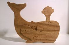 Handmade Whale and Baby Puzzle. Hand Cut on Scroll Saw using Red Oak Cabinet grade plywood for Durability and Finished with Linseed Oil for