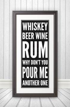Whiskey Beer Wine Rum Whiskey Art Whiskey Sign by BentonParkPrints, $39.00