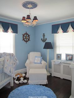 Beautiful nautical nursery - absolutely love the light blues, navy, and white