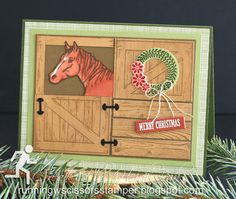 From Our Barn to Yours by - Cards and Paper Crafts at Splitcoaststampers Stampin Up Christmas, Christmas Cards, Westerns, Feather Cards, Horse Cards, Stamping Up, Rubber Stamping, Marianne Design, Animal Cards