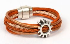 Tutorial - How to make this cute leather bracelet with Regaliz components. From Antelopebeads.com